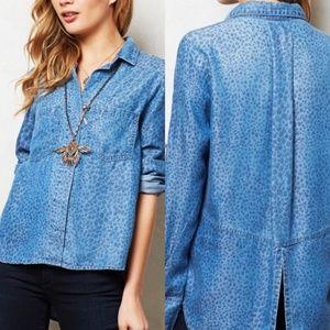 Cloth & Stone Leopard Chambray Popover shirt small